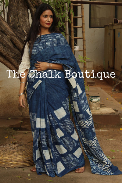 'Dots and Dashes' Handblock printed indigo dabu hand block print saree. TCB-IN6-RB1-The Chalk Boutique