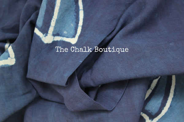 'Ella Ella' Handblock printed indigo dabu hand block print saree. TCB-IN7-RB1-The Chalk Boutique