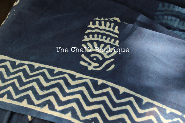 'Kairi' Handblock printed indigo dabu hand block print saree. TCB-IN8-RB1-The Chalk Boutique