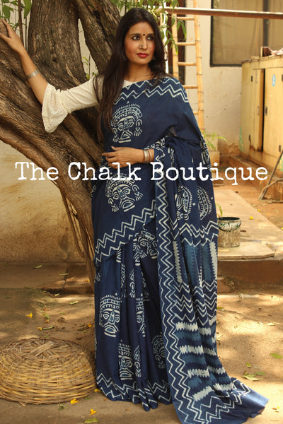 'Masks' Handblock printed indigo dabu hand block print cotton saree. TCB-IN9-RB1-The Chalk Boutique