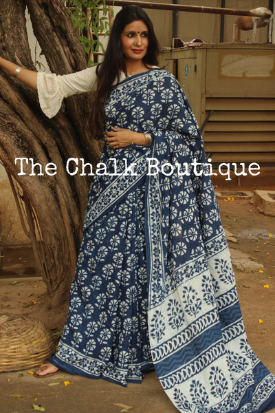 'Phool-Patte' Handblock printed indigo dabu hand block print saree. TCB-IN10-RB1