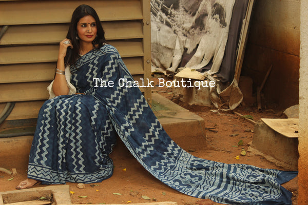 'Labyrinth' Handblock printed indigo dabu hand block print saree. TCB-IN12-RB1-The Chalk Boutique