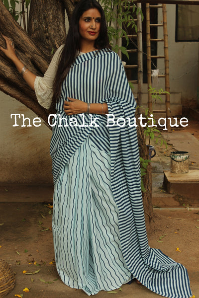 | WAVES | - Striped Handblock printed Indigo and off white saree. TCB-IN13-RB1-The Chalk Boutique