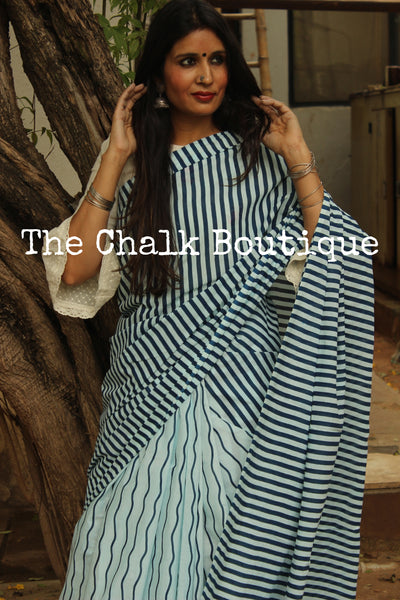 | WAVES | - Striped Handblock printed Indigo and off white saree. TCB-IN13-RB1