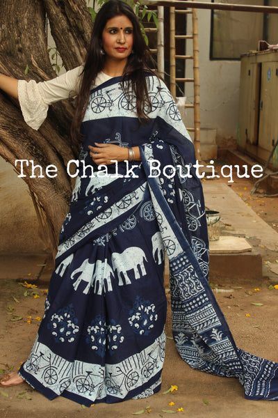 'Elephants and Cycles' Handblock printed Indigo and off white saree. TCB-IN14-RB1-The Chalk Boutique
