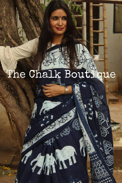 'Elephants and Cycles' Handblock printed Indigo and off white saree. TCB-IN14-RB1