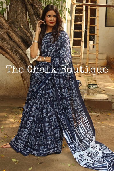 'Musical' Handblock printed Indigo and off white saree. TCB-IN15-RB1