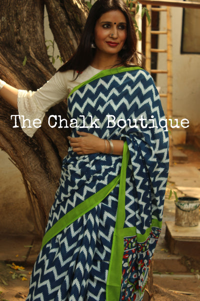 | ZigZag | Handblock printed Indigo saree with green border. TCB-IN1-RB2-The Chalk Boutique