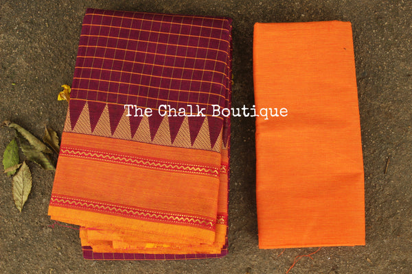 Purple Checked Kanchi Cotton Saree with contrast Woven Border. TCB-KC68-KN