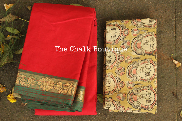 Tomato Red Kanchi Cotton Saree with contrast Woven Border. TCB-KC70-KN