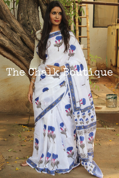 White Floral Handblock printed dabu cotton saree. TCB-IN22-RB1