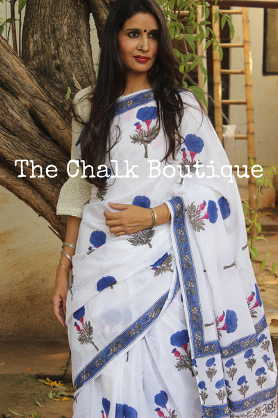 White Floral Handblock printed dabu cotton saree. TCB-IN22-RB1-The Chalk Boutique