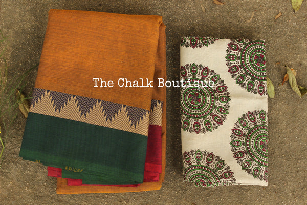 Rust Kanchi Cotton Saree with contrast Woven Border. TCB-KC71-KN