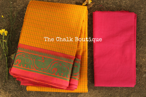 Yellow Checked Kanchi Cotton Saree with contrast Woven Border. TCB-KC72-KN