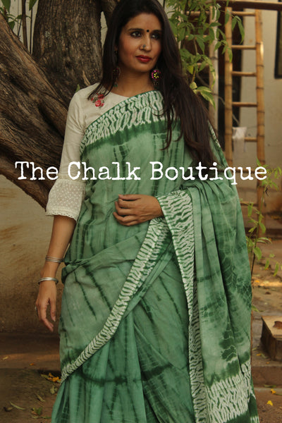Green Shibori hand printed dabu cotton saree. TCB-IN23-RB1