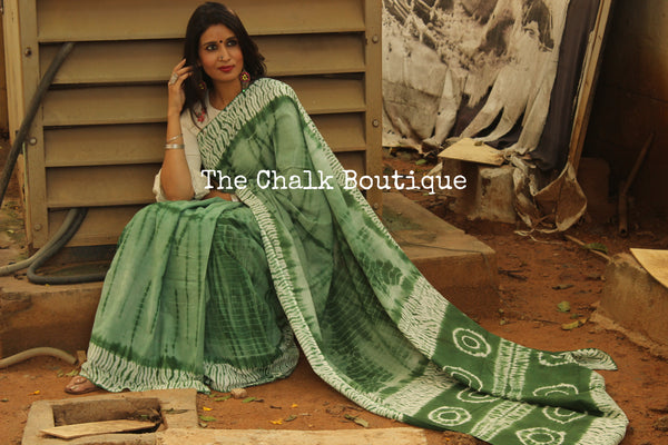 Green Shibori hand printed dabu cotton saree. TCB-IN23-RB1-The Chalk Boutique