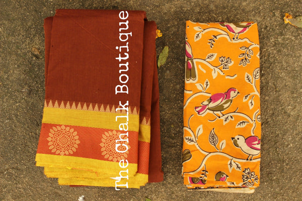 Brown Kanchi Cotton Saree with contrast Woven Border. TCB-KC73-KN