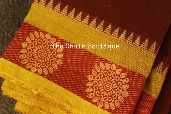 Brown Kanchi Cotton Saree with contrast Woven Border. TCB-KC73-KN-The Chalk Boutique
