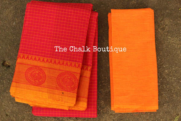 Pink Checked Kanchi Cotton Saree with contrast Woven Border. TCB-KC74-KN
