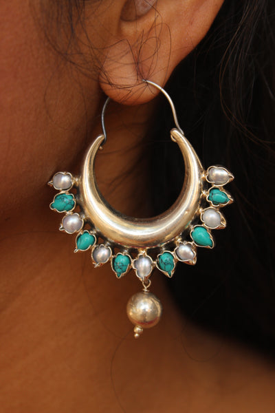 Silver 'chand' earrings with semi precious stones. VA-F3-FB