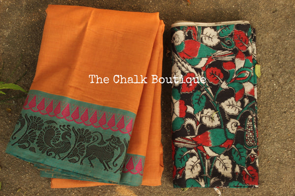 Orange Kanchi Cotton Saree with contrast Woven Border. TCB-KC75-KN
