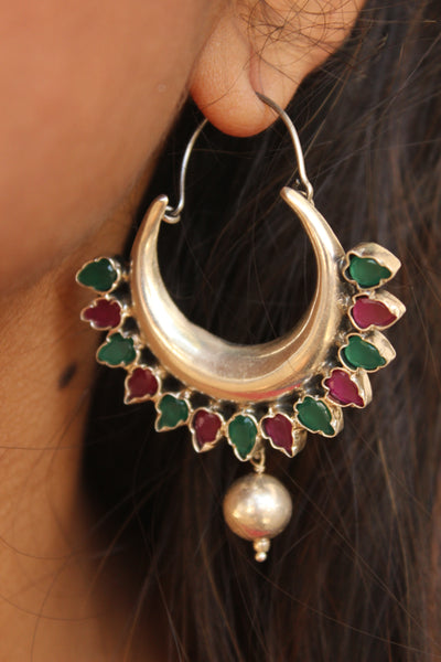 Silver 'chand' earrings with semi precious stones . VA-11-DC