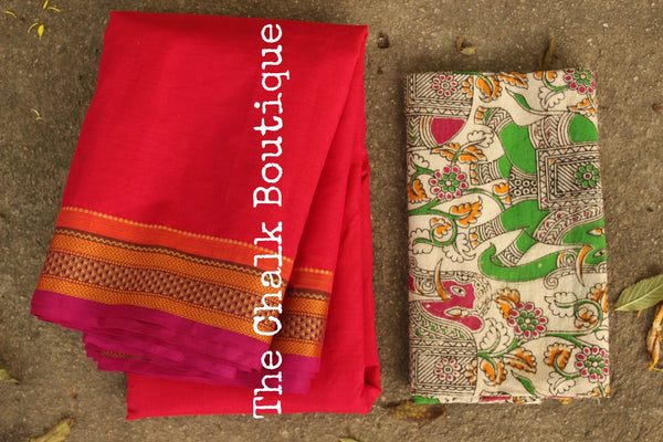 Pink Kanchi Cotton Saree with contrast Woven Border. TCB-KC76-KN