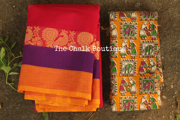 Pink Kanchi Cotton Saree with contrast Woven Border. TCB-KC77-KN