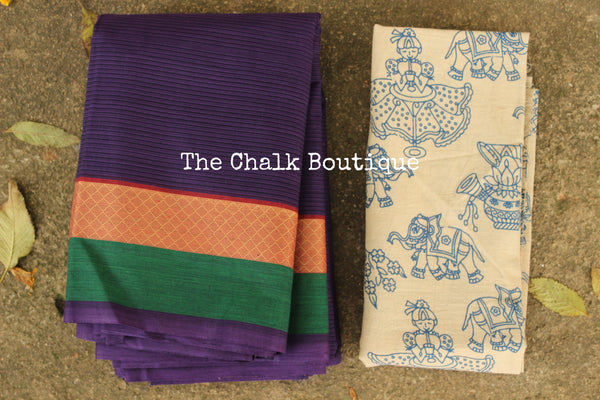Purple Self Striped Kanchi Cotton Saree with contrast Woven Border. TCB-KC78-KN