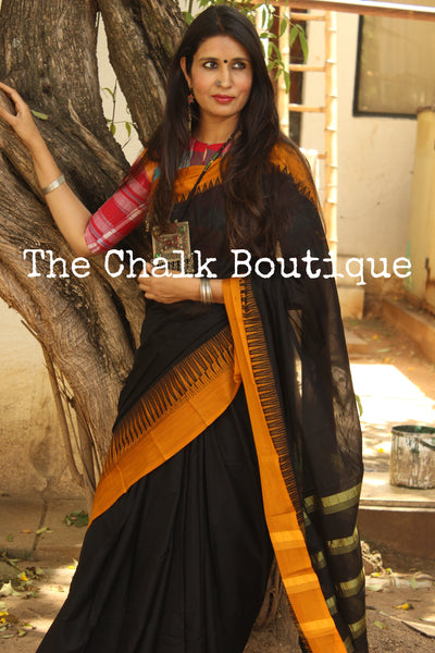 Black Mercerised Soft Cotton Saree With Contrast Temple Style Border. TCB-GM5-P18-The Chalk Boutique
