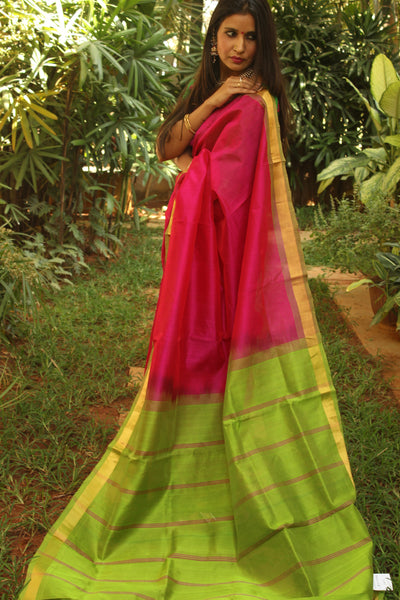 Festive pink pure kanchipuram cotton silk handloom saree with contrast green border.TCB-JT1058B