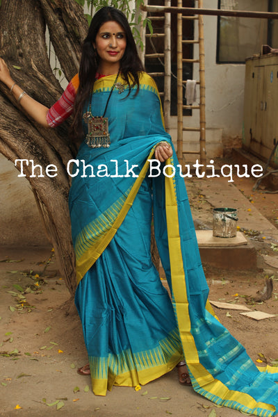 Blue Mercerised Soft Cotton Saree With Contrast Temple Style Border. TCB-GM7-P18