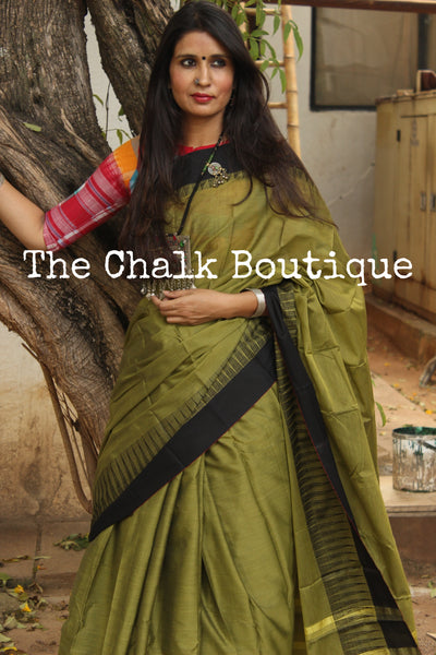 Green Mercerised Soft Cotton Saree With Contrast Temple Style Border. TCB-GM8-P18-The Chalk Boutique