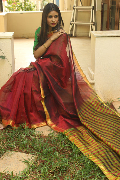 Maroon Pure Kanchipuram cotton silk handloom saree with contrast checked pallu.TCB-JT590