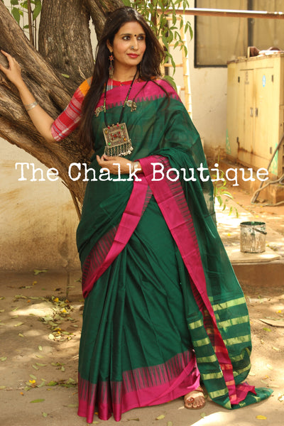 Green Mercerised Soft Cotton Saree With Contrast Temple Style Border. TCB-GM10-P18