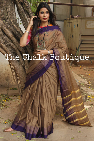 Khaki Mercerised Soft Cotton Saree With Contrast Temple Style Border. TCB-GM13-P18