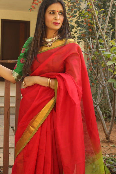 Festive red pure kanchipuram cotton silk handloom saree with contrast green border.TCB-JT1058A