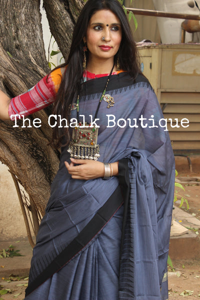 Steel Blue Mercerised Soft Cotton Saree With Contrast Temple Style Border. TCB-GM14-P18-The Chalk Boutique