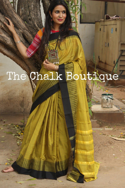 Olive Green Mercerised Soft Cotton Saree With Contrast Temple Style Border. TCB-GM15-P18