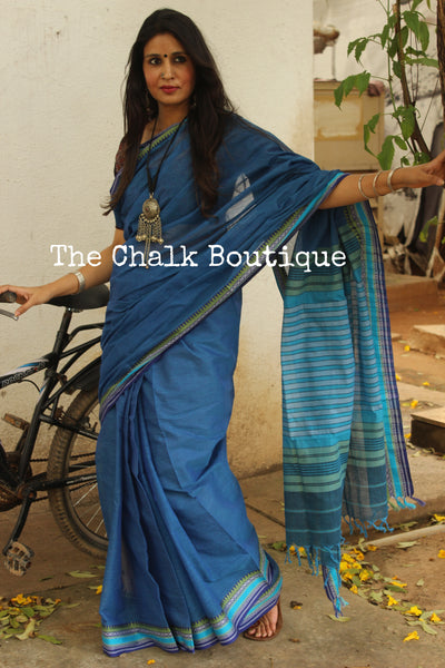 | Bluejay | Blue Self Striped 'Handloom mark' handwoven begumpuri saree with dobby naksha. TCB-DN2-BG1-The Chalk Boutique