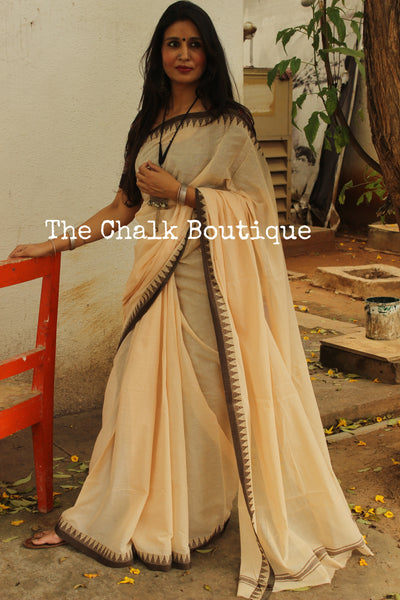 Beige 'Handloom mark' handwoven begumpuri saree with dobby naksha. TCB-DN3-BG1-The Chalk Boutique