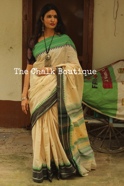 Beige 'Handloom mark' handwoven begumpuri saree with dobby naksha. TCB-BB6-BG1-The Chalk Boutique