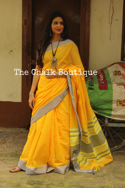 | Happy Feet | Yellow 'Handloom mark' handwoven begumpuri saree with naksha paar. TCB-DN5-BG1