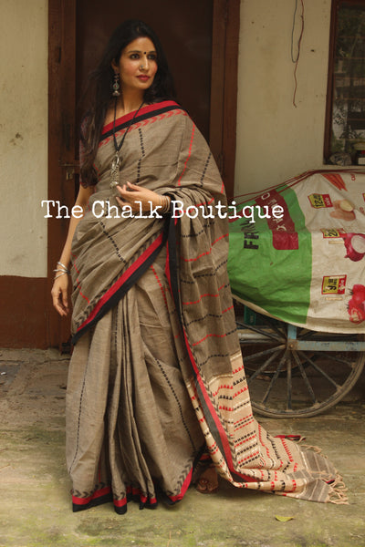 Khaki 'Handloom mark' handwoven begumpuri saree with naksha paar. TCB-SL1-BG1-The Chalk Boutique