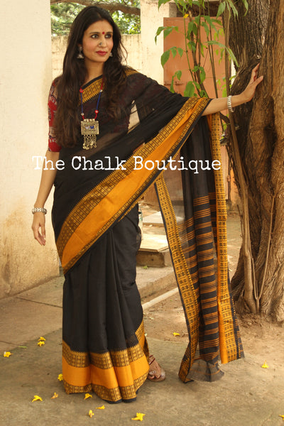 | Poppy seeds | Black 'Handloom mark' handwoven begumpuri saree with naksha paar. TCB-BB3-BG1-The Chalk Boutique