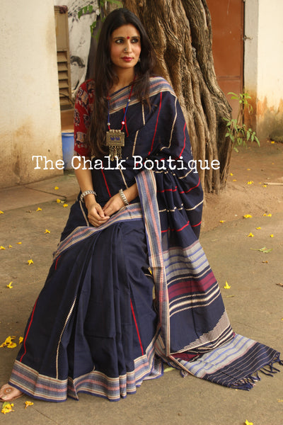 | BlueBerry | Blue 'Handloom mark' handwoven begumpuri saree with naksha paar. TCB-SL2-BG1-The Chalk Boutique