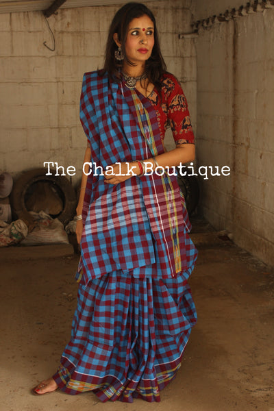Handwoven checked saree with ikat borders. RK-GAMCHA-1-C20