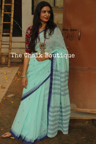 Sky Blue 'Handloom mark' handwoven begumpuri saree with naksha paar. TCB-BB5-BG1-The Chalk Boutique