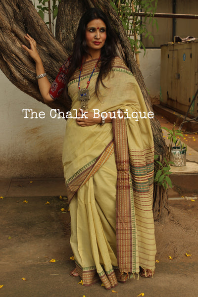 Pista Green 'Handloom mark' handwoven begumpuri saree with naksha paar. TCB-PC1-BG1-The Chalk Boutique