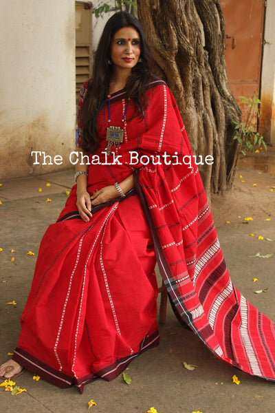 | Candy Reins | Red 'Handloom mark' handwoven begumpuri saree with matha paar. TCB-MP1-BG1-The Chalk Boutique